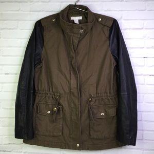H&M Field Military Green Parka Jacket Womens Sz 12
